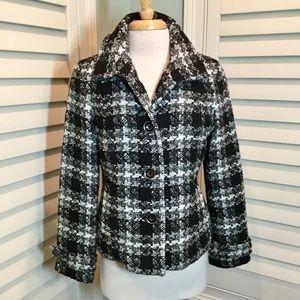Chico's Tweed Plaid Jacket & Free Scarf, 1/8, EUC
